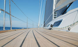 View along teak deck Stock Photos