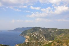 View of Alonissos island from Old Alonissos (Chora). Greece royalty free stock image