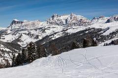 View of the Alpe di Fanes cliffs in winter, with the peaks Conturines and Piz Lavarella, Alta Badia, Italian Dolomites. Stock Photos