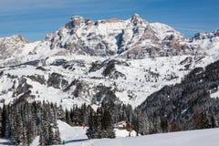 View of the Alpe di Fanes cliffs in winter, with the peaks Conturines and Piz Lavarella, Alta Badia, Italian Dolomites. Stock Photo