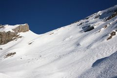 View on alpine downhill slopes Stock Image