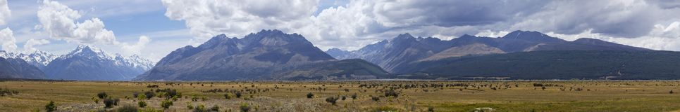 View of the alpine high mountains and the plateau of Mount Cook stock images