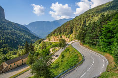 View of alpine highway in France. Royalty Free Stock Photo