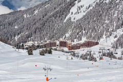 View on the alpine ski resort Stock Image