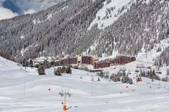 View on the alpine ski resort stock image