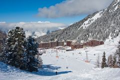 View on alpine skiing resort Stock Images