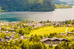 View of alpine village St. Gilgen and Wolfgangsee lake from Moza Royalty Free Stock Images
