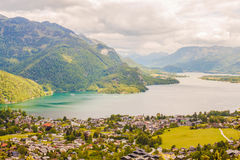 View of alpine village St. Gilgen and Wolfgangsee lake from Moza Stock Photo
