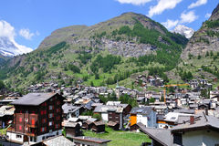 View on alpine village Zermatt, Switzerland Royalty Free Stock Photo