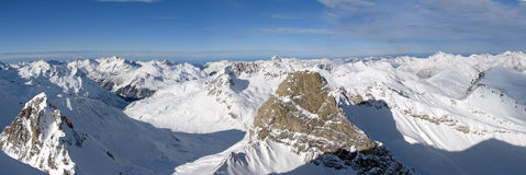 View of Alps. Beautiful panorama of austrian Alps near St. Anton Royalty Free Stock Images