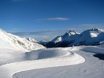 View of Alps. Beautiful panorama of austrian Alps near St. Anton Royalty Free Stock Image