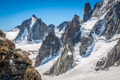 View on the Alps from the Aiguille du Midi , Chamonix. Stock Image