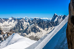 View on the Alps from the Aiguille du Midi , Chamonix. Royalty Free Stock Image