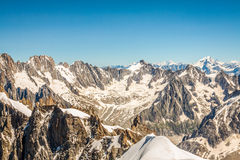 View on the Alps from the Aiguille du Midi , Chamonix. Royalty Free Stock Images