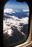 View of the alps 2. View of the French alps through the window of a plane Stock Images
