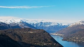 View of alps from lake of Orta Royalty Free Stock Photography