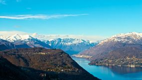 View of alps from lake of Orta. An amazing view of alps from lake of Orta Royalty Free Stock Photo