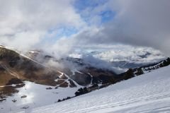 View of Alps at Mayrhofen ski resort. Tyrol, Austria Stock Images