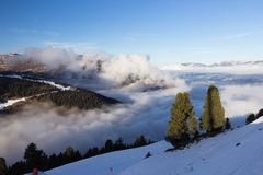 View of Alps at Mayrhofen ski resort. Tyrol, Austria Royalty Free Stock Photo