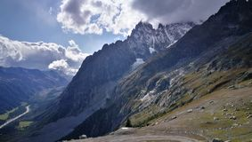 View of Alps. A view of Alps and Mount Blanc from Courmayeur La Thuile area Royalty Free Stock Photo