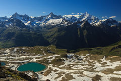 View of Alps mountain range with lake at Zermatt. Switzerland Stock Photos