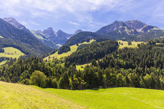 View on the Alps, Switzerland. View on the Alps during summer, Switzerland Royalty Free Stock Images