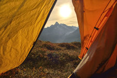 View of alps from tent. Chamonix. France Royalty Free Stock Photo