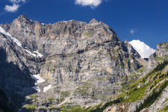 View through Alps valley near Gletch with Furka pass mountain ro Stock Photography