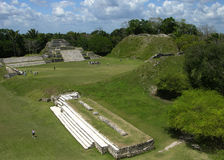 The View of Althun-Ha. The view from the pyramid of Mayan town Althun-Ha in Belize royalty free stock images