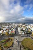View from the altitude of the city of Reykjavik royalty free stock image