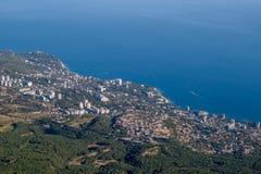View of Alupka from Mount Ai-Petri. The south coast of Crimea stock photography