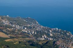 View of Alupka from Mount Ai-Petri. The south coast of Crimea royalty free stock photography