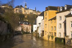 Alzette River and Grund Quarter in Luxembourg City Stock Photography