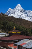 View of Ama Dablam from Pangboche Stock Photo