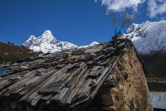 View of Ama Dablam from Pangboche Royalty Free Stock Photos