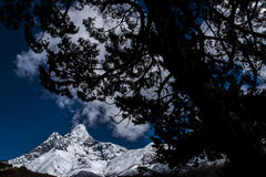 View of Ama Dablam from Pangboche Royalty Free Stock Images