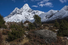 View of Ama Dablam from Pangboche. PANGBOCHE, NEPAL - CIRCA OCTOBER 2013: view of Ama Dablam from Pangboche circa October 2013 in Pangboche Stock Image