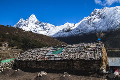 View of Ama Dablam from Pangboche. PANGBOCHE, NEPAL - CIRCA OCTOBER 2013: view of Ama Dablam from Pangboche circa October 2013 in Pangboche Stock Photography