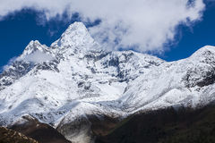 View of Ama Dablam from Pangboche. PANGBOCHE, NEPAL - CIRCA OCTOBER 2013: view of Ama Dablam from Pangboche circa October 2013 in Pangboche Royalty Free Stock Photography