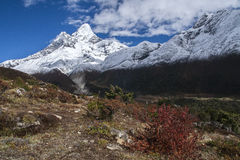 View of Ama Dablam from Pangboche. PANGBOCHE, NEPAL - CIRCA OCTOBER 2013: view of Ama Dablam from Pangboche circa October 2013 in Pangboche Royalty Free Stock Photo