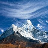 View of Ama Dablam on the way to Everest Base Camp Royalty Free Stock Images