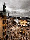 Rooftop view of Amagertorv in Copenhagen Denmark on a cloudy day Royalty Free Stock Photography