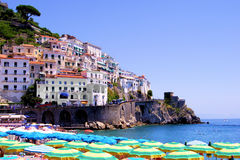 View of Amalfi. Colorful view over the beach at Amalfi, Italy Stock Photography