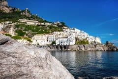 View of Amalfi. Amalfi is a charming, peaceful resort town on the scenic Amalfi Coast stock photos