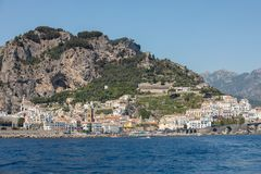 View of Amalfi. Amalfi is a charming resort town on the scenic Amalfi Coast of Italy.  stock photo