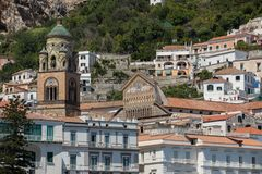 View of Amalfi. Amalfi is a charming resort town on the scenic Amalfi Coast. Of Italy royalty free stock photos