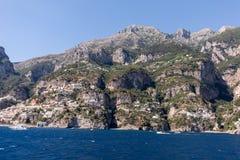 A view of the Amalfi Coast between Amalfi and Positano. Campania. Italy stock images