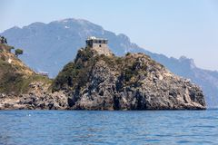 A view of the Amalfi Coast between Positano and Amalfi. Campania. Italy stock photo