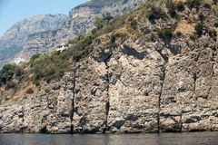A view of the Amalfi Coast between Positano and Amalfi. Campania. Italy royalty free stock photo