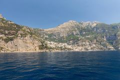 A view of the Amalfi Coast between Sorrento and Positano. Campania. Royalty Free Stock Image